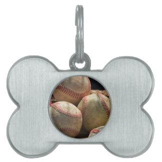 Baseballs and Glove Pet Name Tag