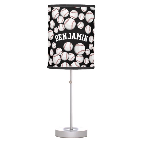 Baseballs By the Boatload Black Table Lamps