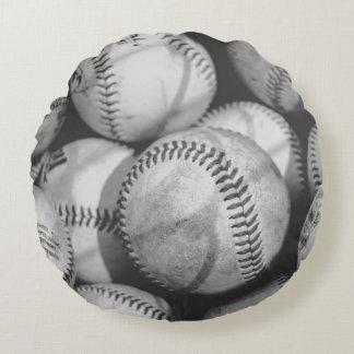 Baseballs in Black and White Round Pillow