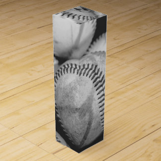 Baseballs in Black and White Wine Boxes
