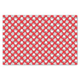 Baseballs Pattern on Red Tissue Paper