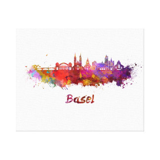 Basel skyline in watercolor canvas print