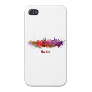 Basel skyline in watercolor cover for iPhone 4