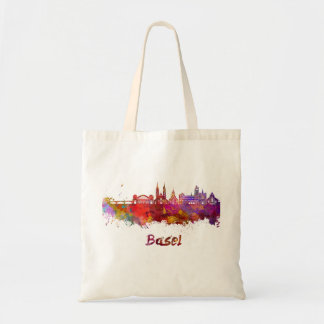 Basel skyline in watercolor tote bag