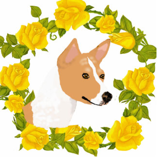 Basenji and Yellow Roses Photo Sculptures