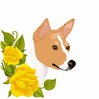 Basenji and Yellow Roses Photo Cut Out