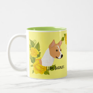 Basenji and Yellow Roses Two-Tone Coffee Mug
