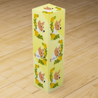 Basenji and Yellow Roses Wine Gift Box