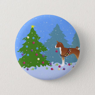 Basenji Decorating Tree in the Forest 2 Inch Round Button