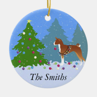 Basenji Decorating Tree in the Forest Ceramic Ornament