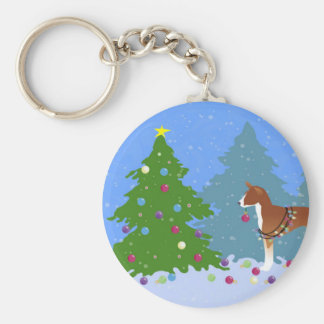 Basenji Decorating Tree in the Forest Keychain