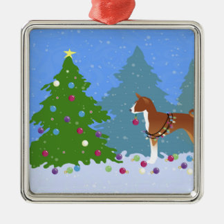 Basenji Decorating Tree in the Forest Metal Ornament
