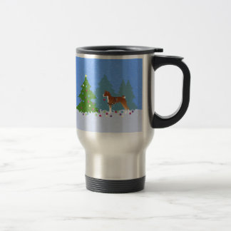 Basenji Decorating Tree in the Forest Travel Mug