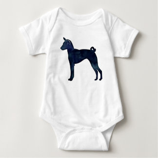 Basenji Dog Black Watercolor Silhouette Baby Bodysuit
