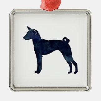 Basenji Dog Black Watercolor Silhouette Metal Ornament
