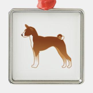 Basenji Dog Breed Illustration Silhouette Metal Ornament