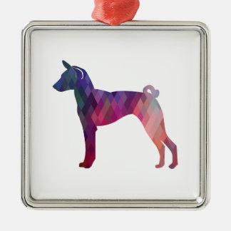 Basenji Dog Geo Pattern Silhouette Pink Metal Ornament
