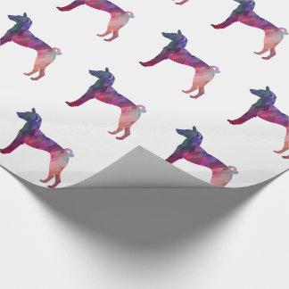 Basenji Dog Geo Pattern Silhouette Pink Wrapping Paper