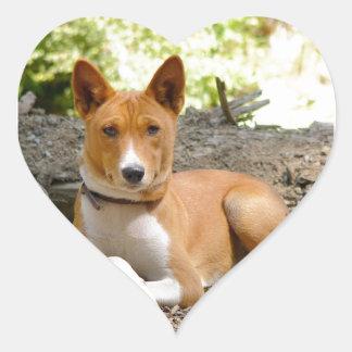 Basenji Dog Heart Sticker