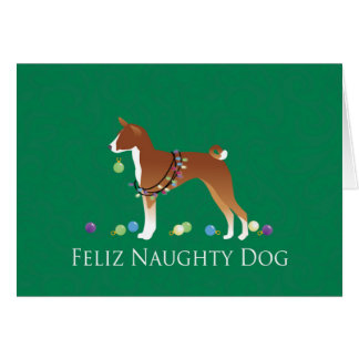 Basenji Feliz Naughty Dog Christmas Card