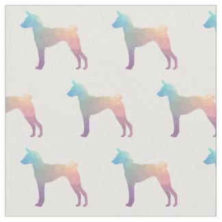 Basenji Geometric Pattern Silhouette Pastel Fabric