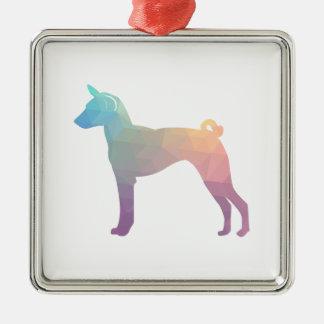 Basenji Geometric Pattern Silhouette Pastel Metal Ornament