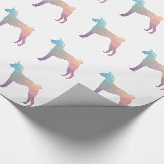 Basenji Geometric Pattern Silhouette Pastel Wrapping Paper
