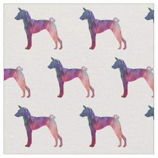 Basenji Geometric Pattern Silhouette Pink Fabric