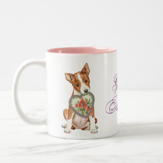 Basenji Heart Mom Two-Tone Coffee Mug