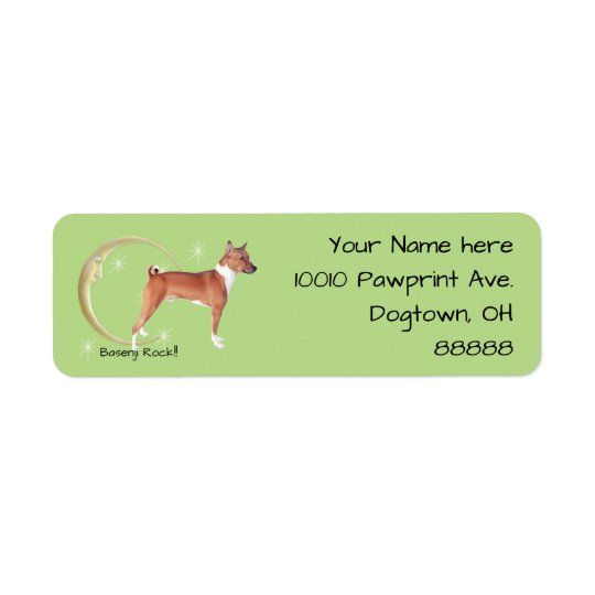 Basenji, Moon and Stars Return Address Label