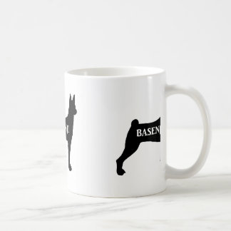 basenji name silhouette coffee mug