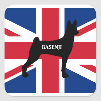 basenji name silhouette england United_Kingdom fla Square Sticker