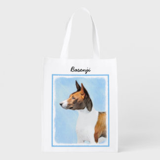 Basenji Painting - Cute Original Dog Art Reusable Grocery Bag