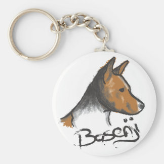 Basenji Painting Red and White Basic Round Button Keychain