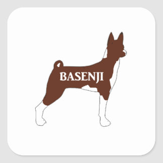 basenji red name silhouette square sticker
