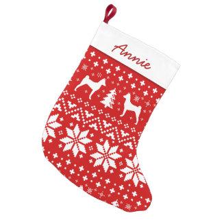 Basenji Silhouettes Pattern Small Christmas Stocking