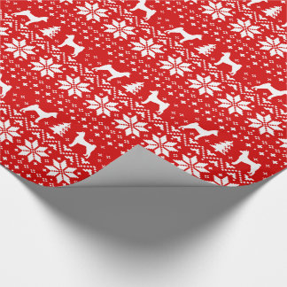Basenjis Christmas Sweater Pattern Red Wrapping Paper