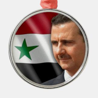 Bashar al-Assad بشار الاسد Silver-Colored Round Ornament