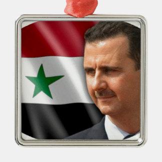 Bashar al-Assad بشار الاسد Silver-Colored Square Ornament