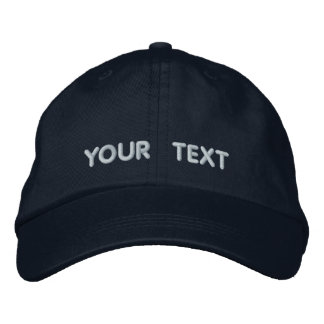 Basic Adjustable Cap Navy Blue Lt Blue Text Embroidered Hats