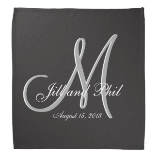 Basic Black 3d Monogram Bandana