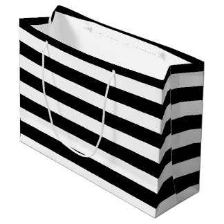 Basic Black and White Horizontal Stripes Large Gift Bag