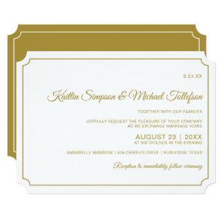 Basic Border Elegant Wedding Invitations (Gold)