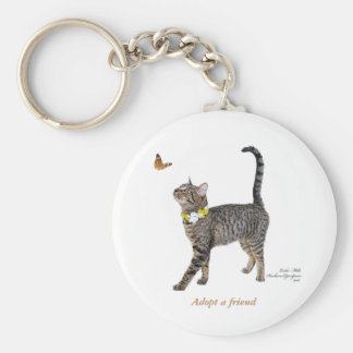 Basic Button Keychain Featuring Tabatha, the Tabby