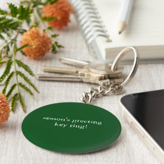 basic button season's greeting keyring basic round button keychain