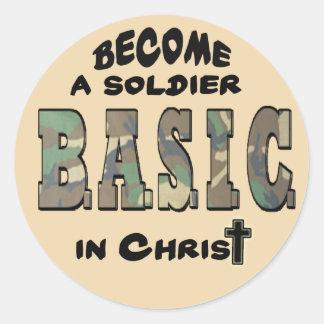 BASIC CHRISTIAN ACRONYM - SOLDIER IN CHRIST CLASSIC ROUND STICKER