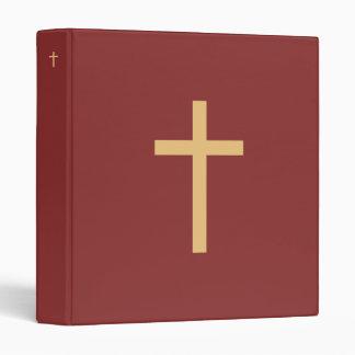 Basic Christian Cross Golden Ratio Yellow Red 3 Ring Binder