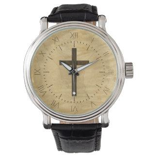 Basic Christian Cross Wooden Veneer Maple Rosewood Watch