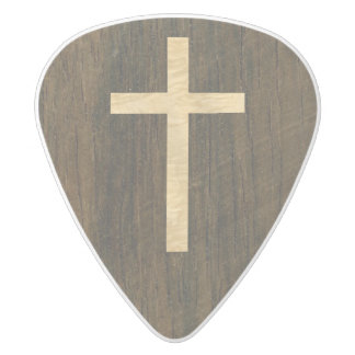 Basic Christian Cross Wooden Veneer Maple Rosewood White Delrin Guitar Pick