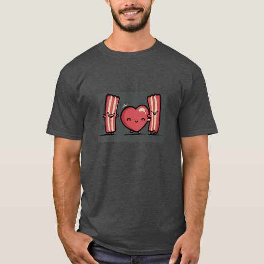 basic dark t-shirt,valentine's day, humour, bacon T-Shirt